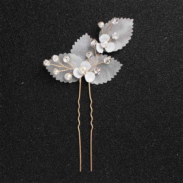 Newest Fashion Handmade Flowers Womens Hairpins | Bridelily - 1pc Gold 1 - hairpins