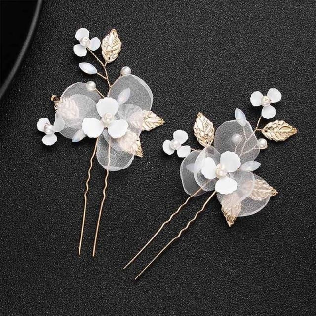 Newest Fashion Handmade Flowers Womens Hairpins | Bridelily - 2pcs Gold 3 - hairpins