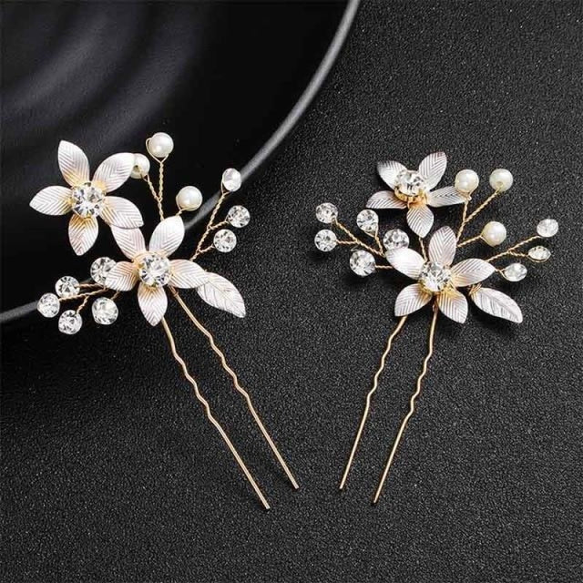 Newest Fashion Handmade Flowers Womens Hairpins | Bridelily - 2pcs Gold 4 - hairpins
