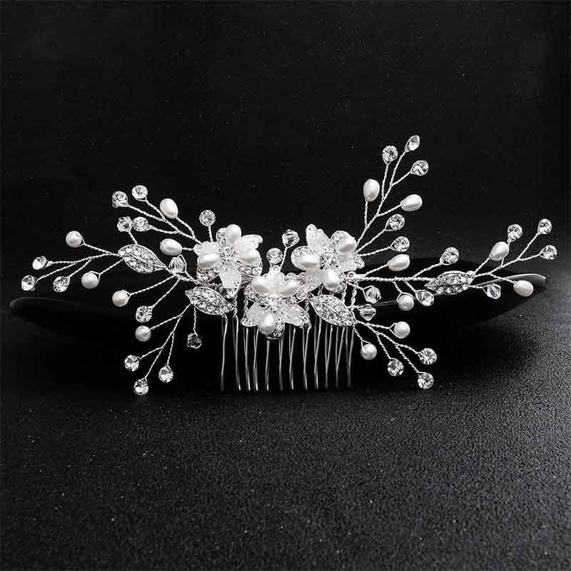 Newest Handmade Crystal Flower Combs & Barrettes | Bridelily - Silver - combs and barrettes