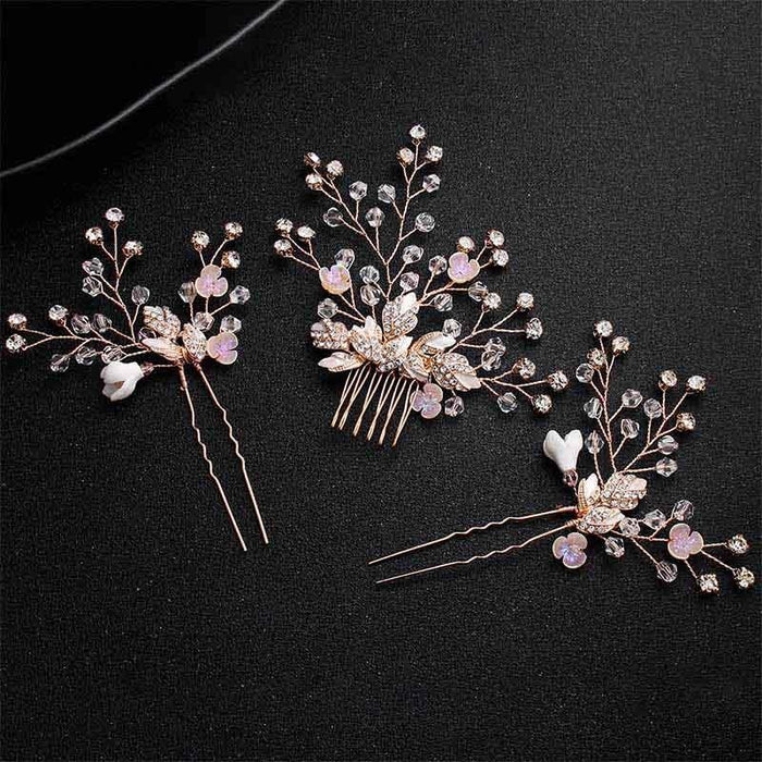 Newest Peach Rhinestone Pearls Womens Combs & Barrettes | Bridelily - combs and barrettes