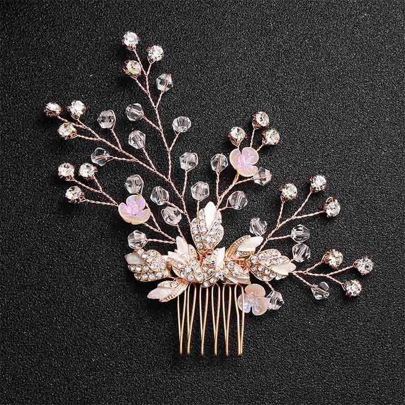 Newest Peach Rhinestone Pearls Womens Combs & Barrettes | Bridelily - Hair Comb - combs and barrettes