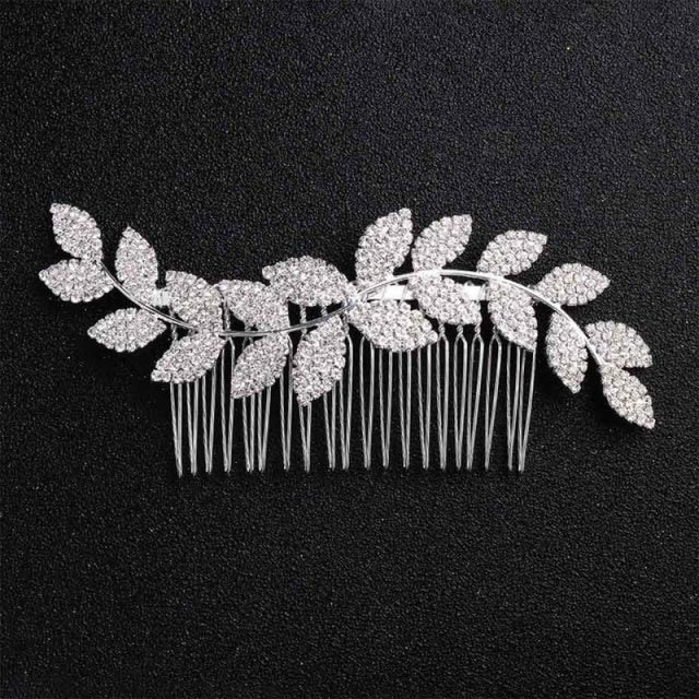 Newest Simple Leaves Handmade Womens Combs & Barrettes | Bridelily - Silver - combs and barrettes