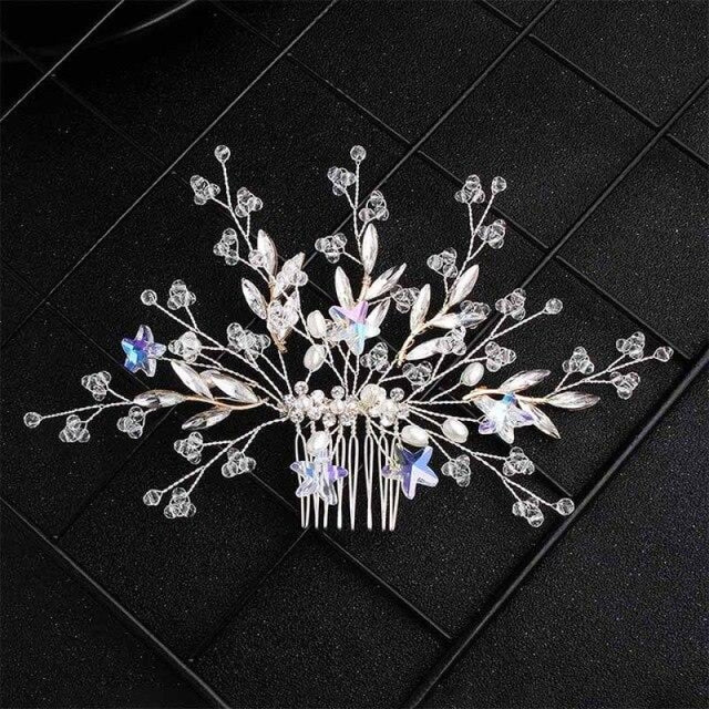 Newest Star Flowers Handmade Combs & Barrettes | Bridelily - Silver - combs and barrettes