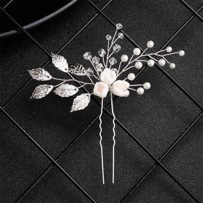 Newest White Flower Leaves Handmade Hairpins | Bridelily - Silver - hairpins