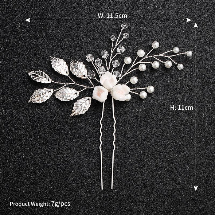 Newest White Flower Leaves Handmade Hairpins | Bridelily - hairpins