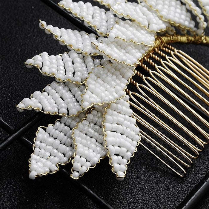 Newest White Rice Handmade Womens Combs & Barrettes | Bridelily - combs and barrettes