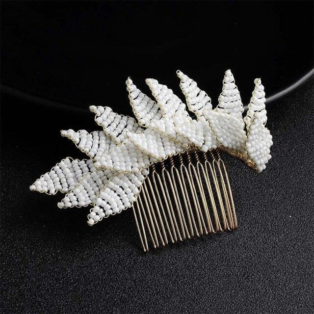 Newest White Rice Handmade Womens Combs & Barrettes | Bridelily - Gold - combs and barrettes