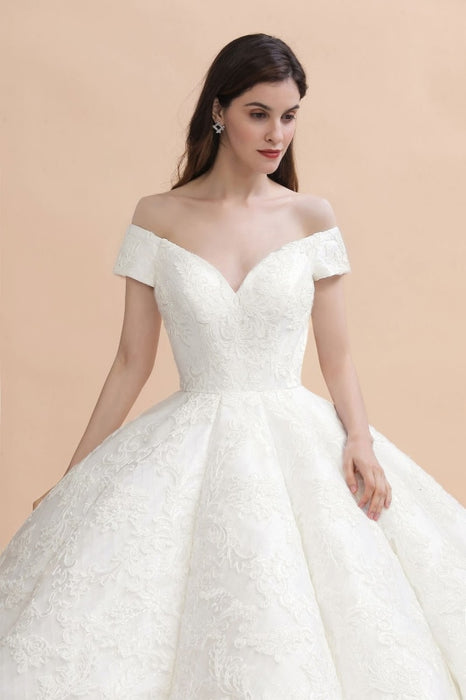 Off The Shoulder Lace Beaded Ball Gown Wedding Dress - wedding dresses