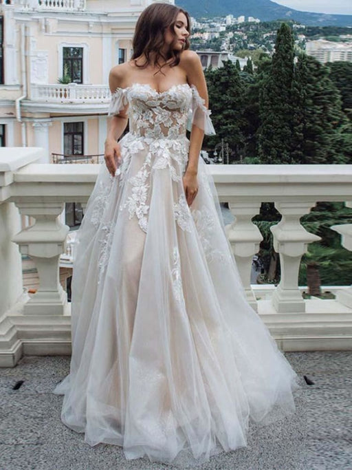 Off-the-Shoulder Lace Tulle A-Line Wedding Dresses - wedding dresses