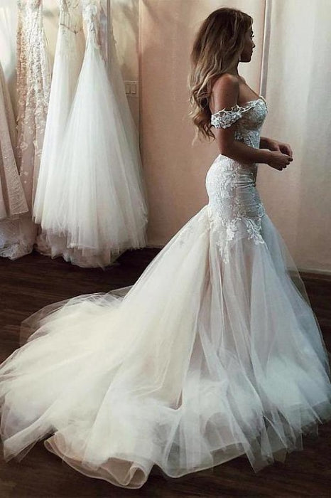 Off the Shoulder Mermaid Lace Long Tulle Wedding Dress - Wedding Dresses