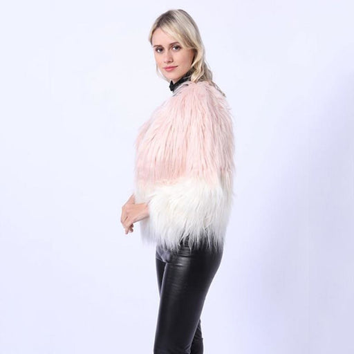 Ombre Party Fashion Winter Regular Faux Round Neck Fur Coats - womens furs & leathers