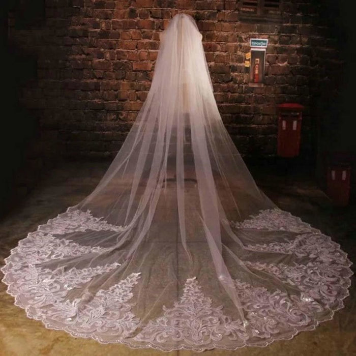 One-Layer 3m Tluue Lace Yard Wedding Veils | Bridelily - wedding veils