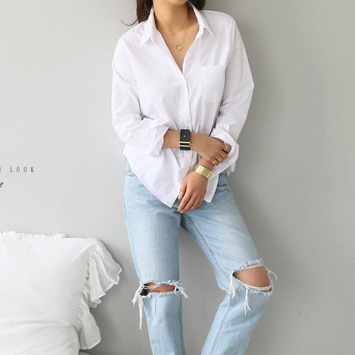 One Pocket Women White Shirt Female Blouse Tops - blouses