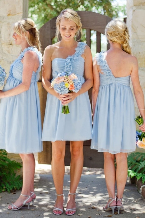 One Shoulder Light Sky Blue Short A-Line Knee Length Bridesmaid Dresses Pregnant Dresses - Bridesmaid Dresses