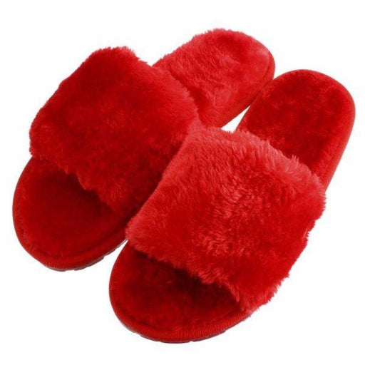 Open Toe Artificial Fur Slip On Flat Indoor Home Shoes - home shoes