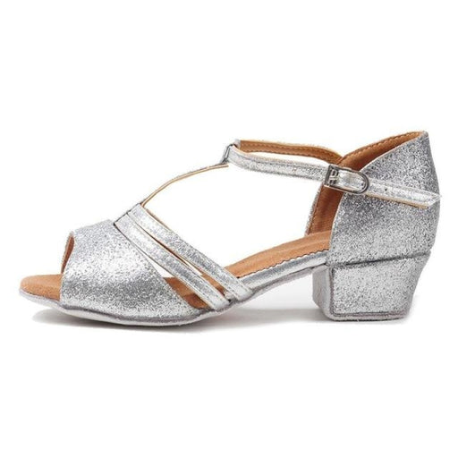 Open Toe Glitter Buckle Ballroom Dance Shoes | Bridelily - Silver / 6 - ballroom dance shoes