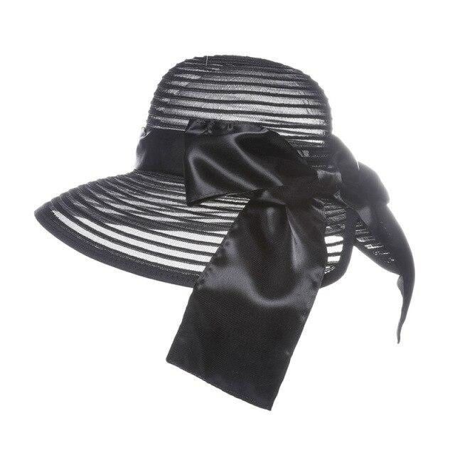 Organza Bow Solid Belt Church Tea Party Hats | Bridelily - Black / China - tea party hats