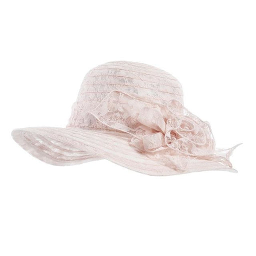 Organza Church Pink Lace Wide Brim Tea Party Hats | Bridelily - Pink - tea party hats