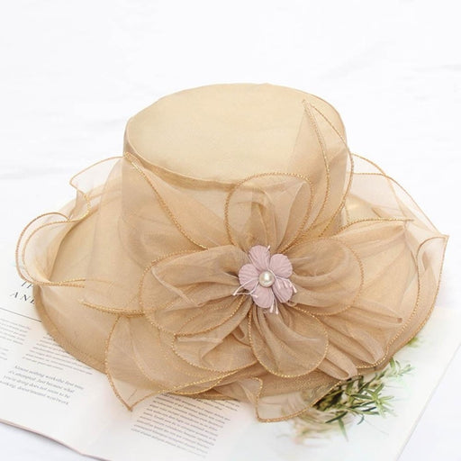 Organza Foldable Church Wide Brim Tea Party Hats | Bridelily - tea party hats