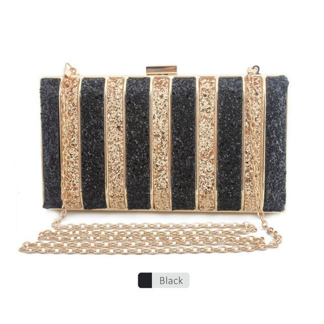 Panelled Sequin Rhinestones Wedding Handbags | Bridelily - black - wedding handbags