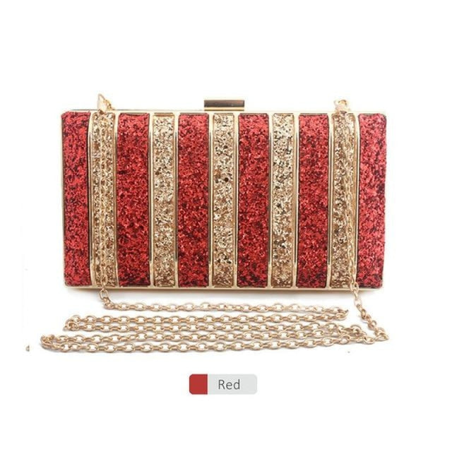 Panelled Sequin Rhinestones Wedding Handbags | Bridelily - Red - wedding handbags