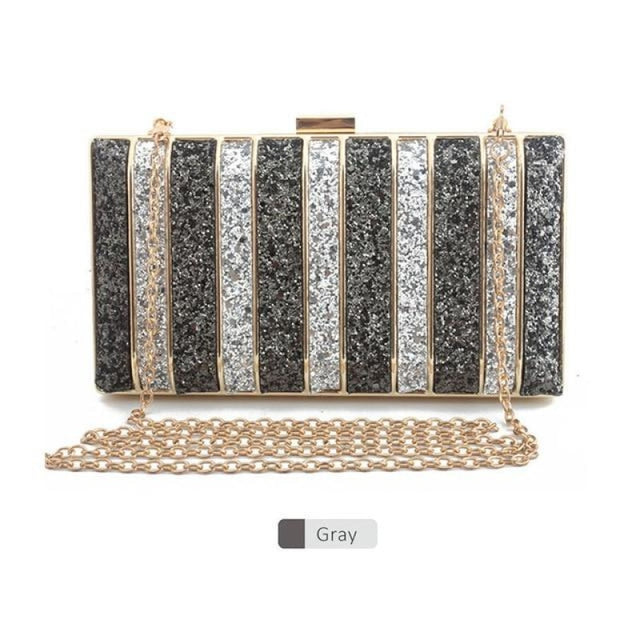 Panelled Sequin Rhinestones Wedding Handbags | Bridelily - Gray - wedding handbags