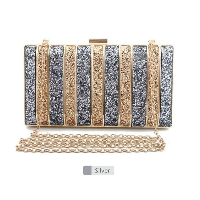 Panelled Sequin Rhinestones Wedding Handbags | Bridelily - Sliver - wedding handbags