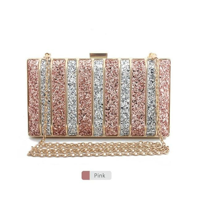 Panelled Sequin Rhinestones Wedding Handbags | Bridelily - Pink - wedding handbags