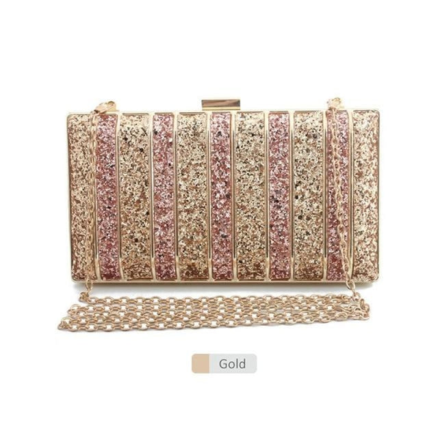Panelled Sequin Rhinestones Wedding Handbags | Bridelily - Gold - wedding handbags