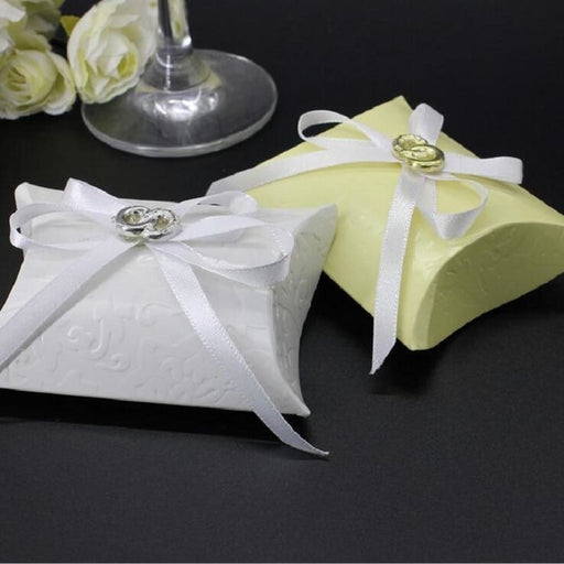 Paper Pillow With Metal Ribbon Favor Holders | Bridelily - 50pcs white - favor holders