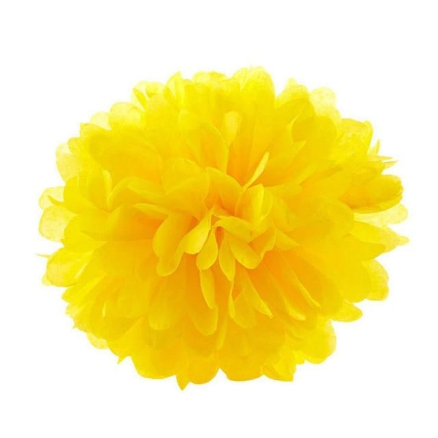Paper Pompoms Wedding Decorations (5pcs) | Bridelily - deep yellow / 10cm 4inch - wedding decorations