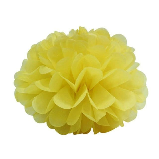 Paper Pompoms Wedding Decorations (5pcs) | Bridelily - yellow / 10cm 4inch - wedding decorations