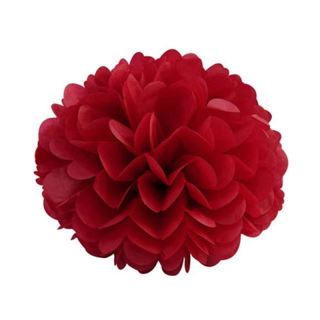 Paper Pompoms Wedding Decorations (5pcs) | Bridelily - red / 10cm 4inch - wedding decorations