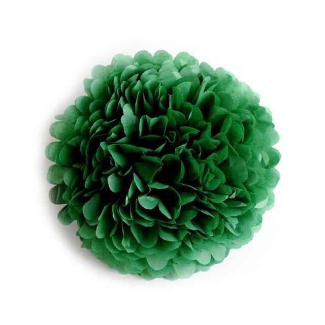 Paper Pompoms Wedding Decorations (5pcs) | Bridelily - dark green / 10cm 4inch - wedding decorations