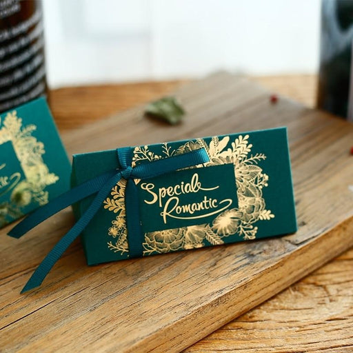 Paperboard Gold Lines With Ribbon Favor Holders | Bridelily - favor holders