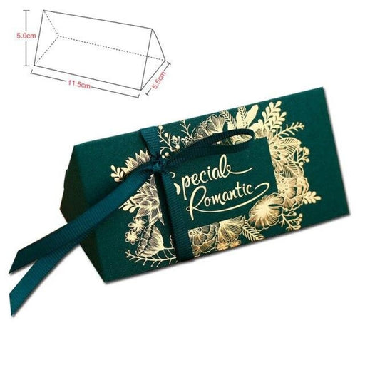 Paperboard Gold Lines With Ribbon Favor Holders | Bridelily - Green / 20 PCS - favor holders