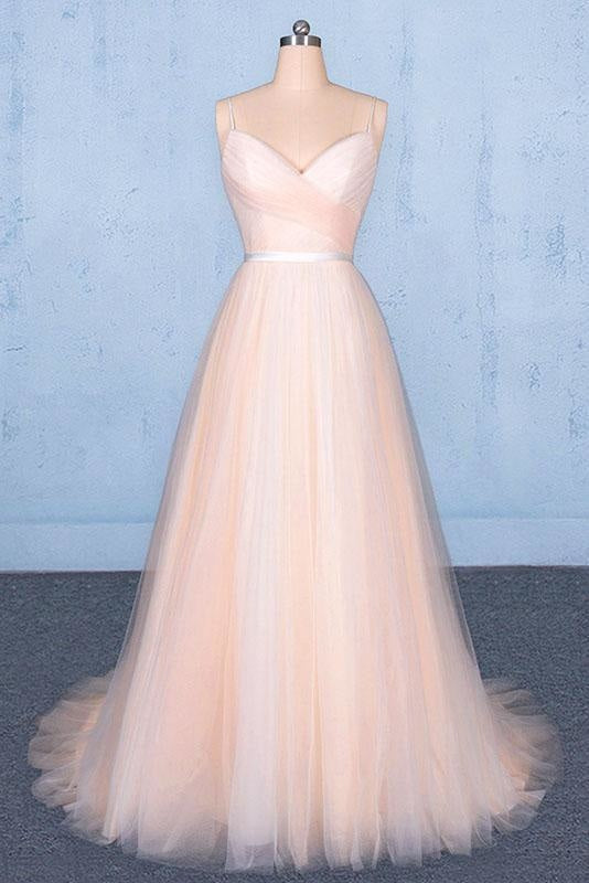 Peach V Neck Sleeveless A Line Prom Dresses Straps Tulle Evening Dress - Prom Dresses