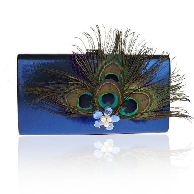 Peacock Feather Pearl Diamond Wedding Handbags | Bridelily - Blue / (20cm<Max Length<30cm) - wedding handbags