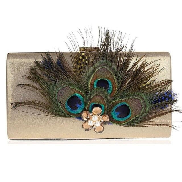 Peacock Feather Pearl Diamond Wedding Handbags | Bridelily - Gold / (20cm<Max Length<30cm) - wedding handbags
