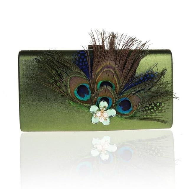 Peacock Feather Pearl Diamond Wedding Handbags | Bridelily - Green / (20cm<Max Length<30cm) - wedding handbags