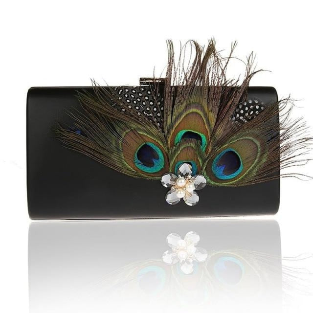 Peacock Feather Pearl Diamond Wedding Handbags | Bridelily - Black / (20cm<Max Length<30cm) - wedding handbags