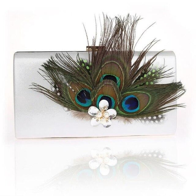 Peacock Feather Pearl Diamond Wedding Handbags | Bridelily - Silver / (20cm<Max Length<30cm) - wedding handbags