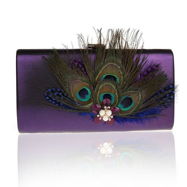 Peacock Feather Pearl Diamond Wedding Handbags | Bridelily - Purple / (20cm<Max Length<30cm) - wedding handbags