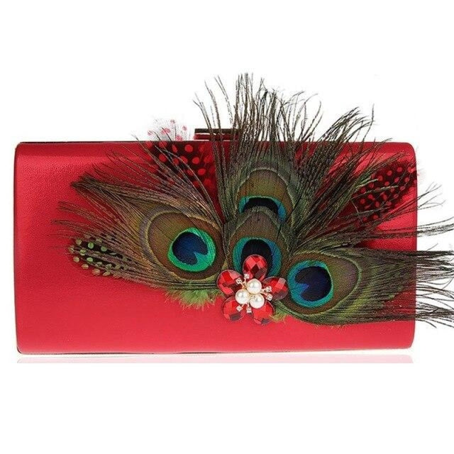 Peacock Feather Pearl Diamond Wedding Handbags | Bridelily - Red / (20cm<Max Length<30cm) - wedding handbags