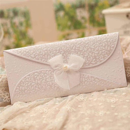 Pearl Bowknot Style Tri-Fold Invitation Cards (Set of 50) | Bridelily - As shown in the picture / English / Blank - invitation cards