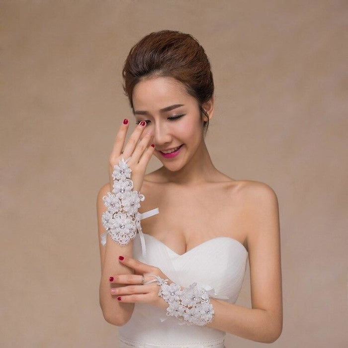 Pearl Diamond Flower Glove Hollow Wedding Gloves | Bridelily - wedding gloves