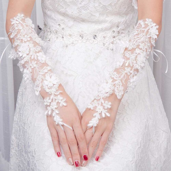 pearl Lace Fashion Hollow Out Flower Wedding Glove | Bridelily - wedding gloves