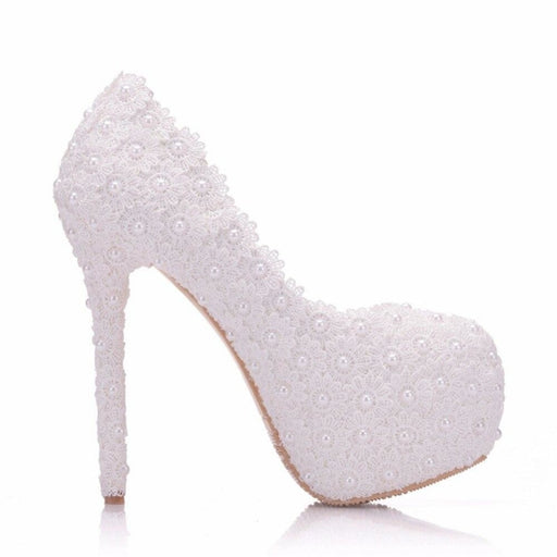 Pearl Lace White High Heels Wedding Pumps | Bridelily