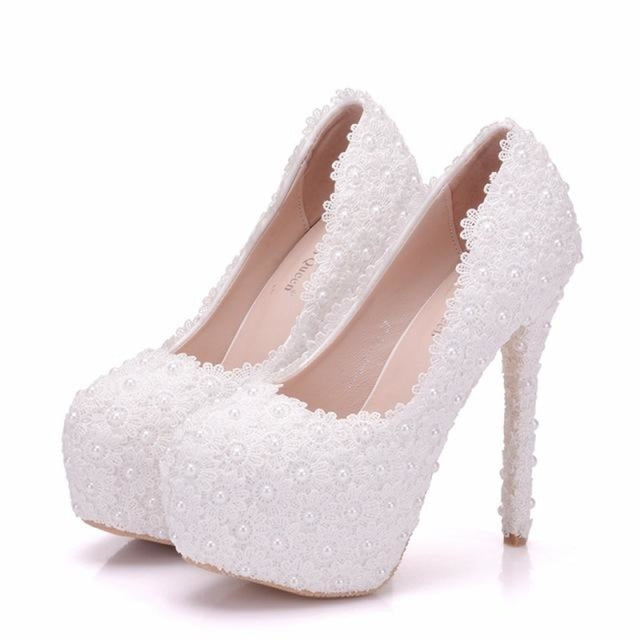 Pearl Lace White High Heels Wedding Pumps | Bridelily - 14cm white / 34